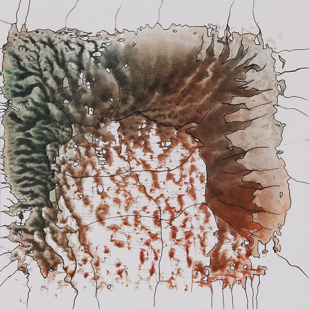 Mischtechnik (Tusche auf Dekalkomanie), Papier