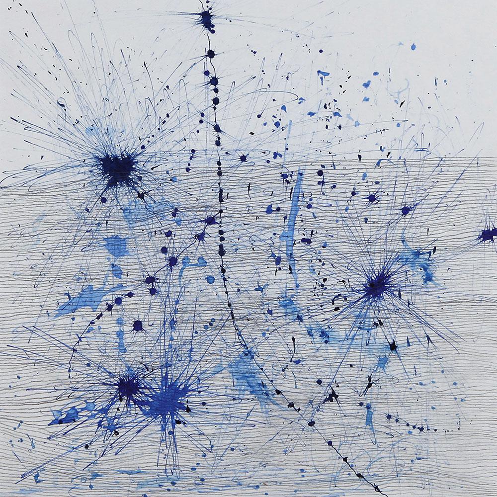 Blaue Tusche, Graphitstift, Papier